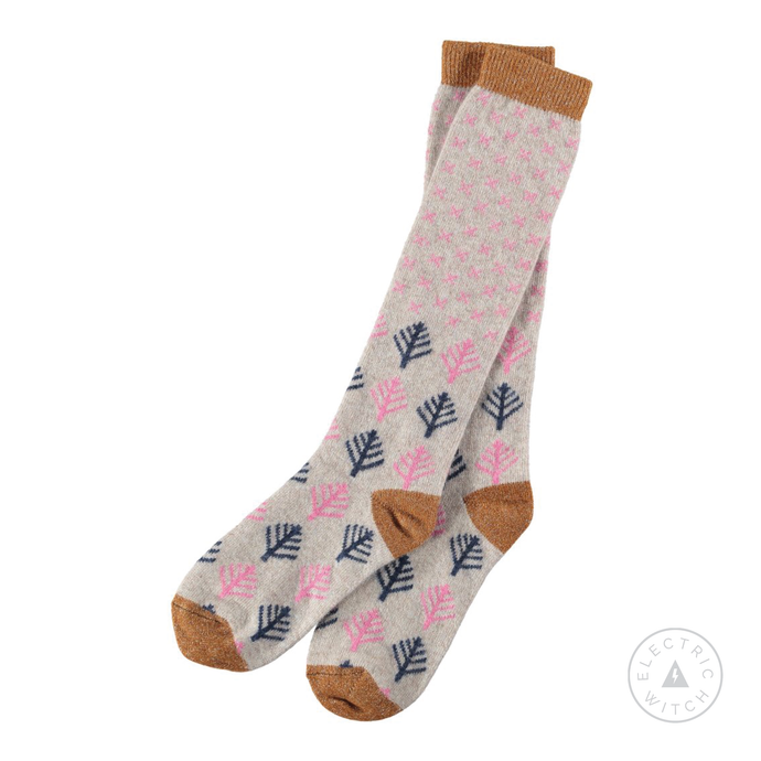 Ladies Lambswool Pink Snow & Trees Knee Socks