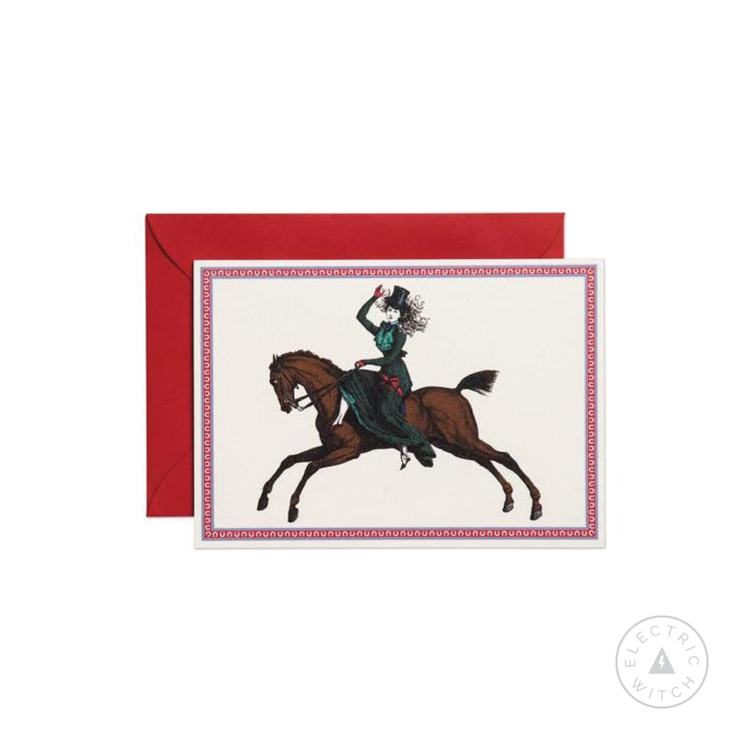 Lady on Her Horse Greetings Card (Mini size)