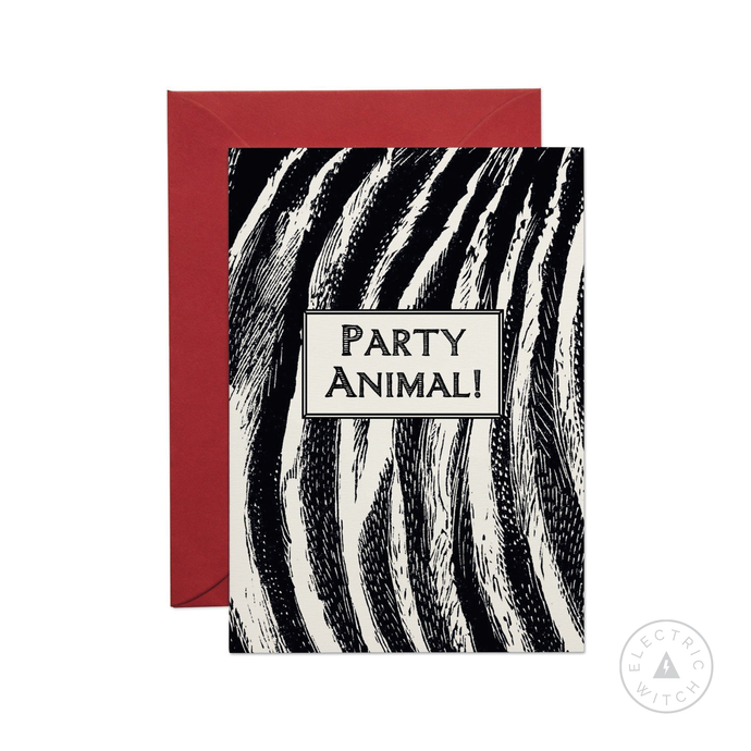 Zebra Print 'Party Animal' Greetings Card
