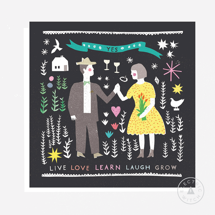 Folk Life Love Card : Square Greetings Card