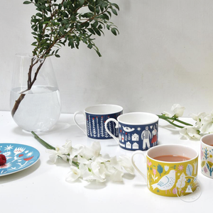 White Garden Cup : Bone China Cup