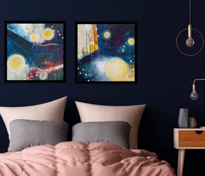"Gliding Across Galaxies to Find Your Resting Space is a framed original acrylic painting on 16""x16""x1.5"" canvas."