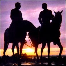 """Photograph, by Barbara Newcome, of the sculpture, """"Calm as a Summer's Morning,"""" depicting Joseph and Hyrum Smith as they rode to Carthage, Illinois, before their martyrdom."""