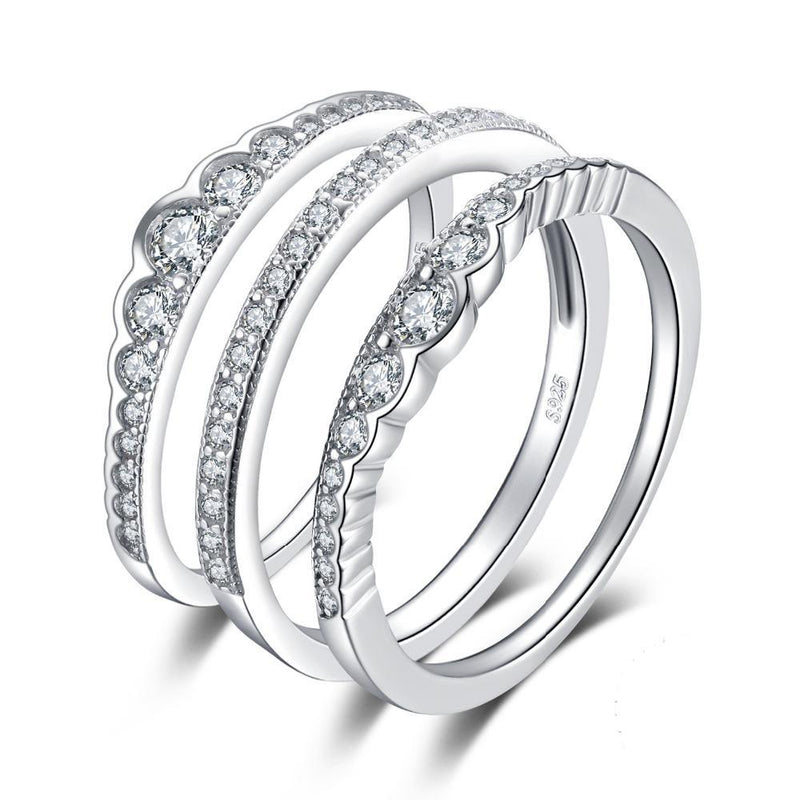 STERLING AND ZIRCONIA RING STACK