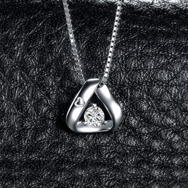 TRIANGLE CHATON AND SILVER PENDANT
