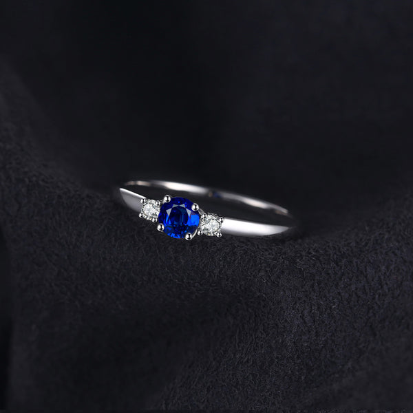 THE STONE MINI CREATED SAPPHIRE AND SILVER RING