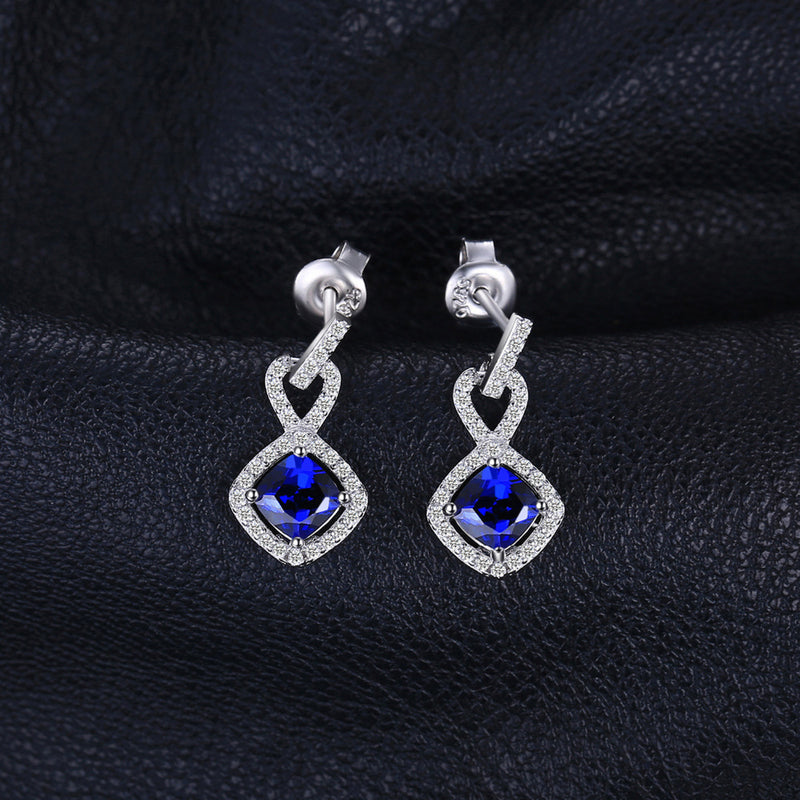 CUBIC SILVER AND MONGOLIAN SAPPHIRE EARRINGS