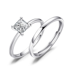 SILVER ATTRACT ROUND RING SET