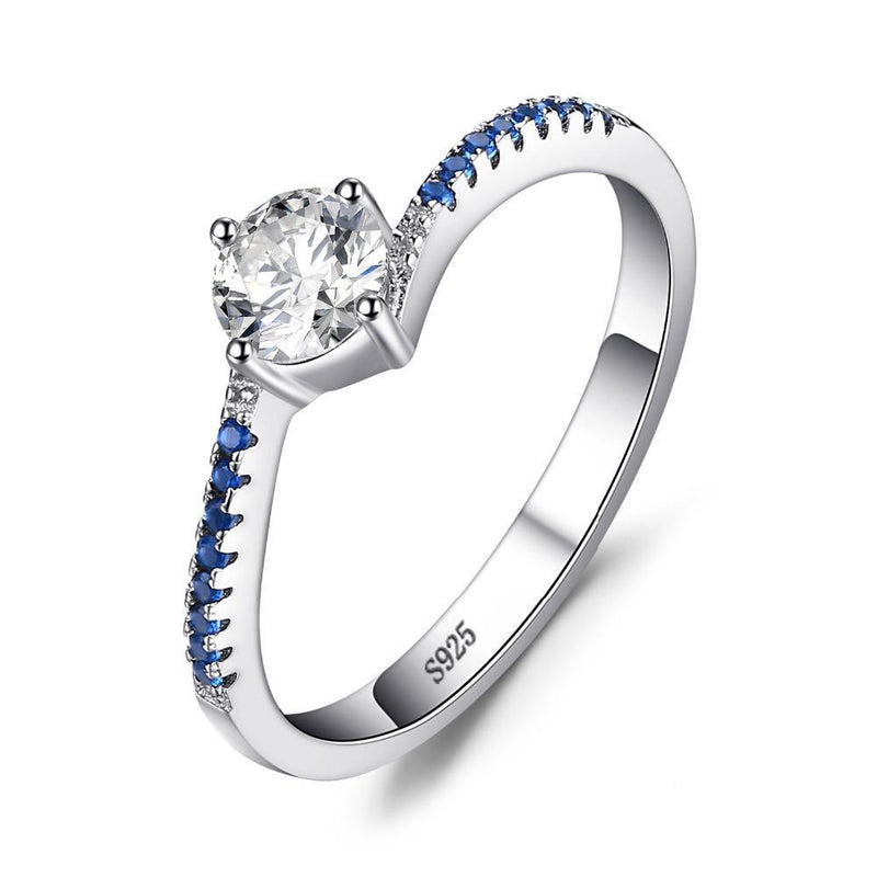 SAPPHIRE CREATED SILVER RING