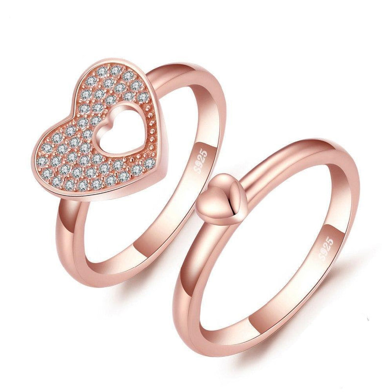 TOGETHER ROSE GOLD PLATED RING SET