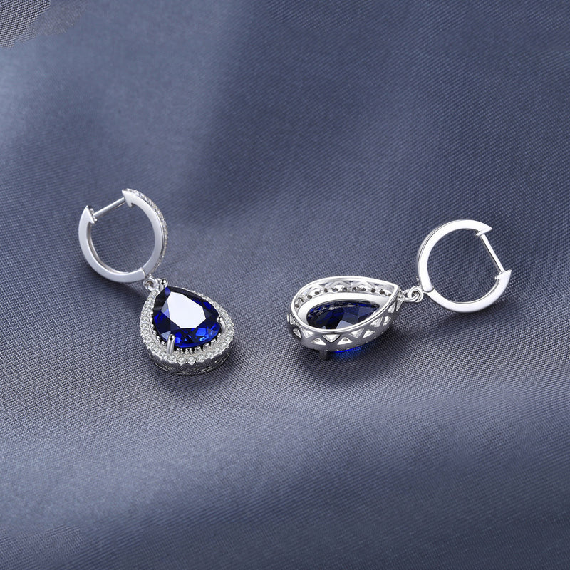 DROP SILVER AND MONGOLIAN SAPPHIRE PEAR EARRINGS