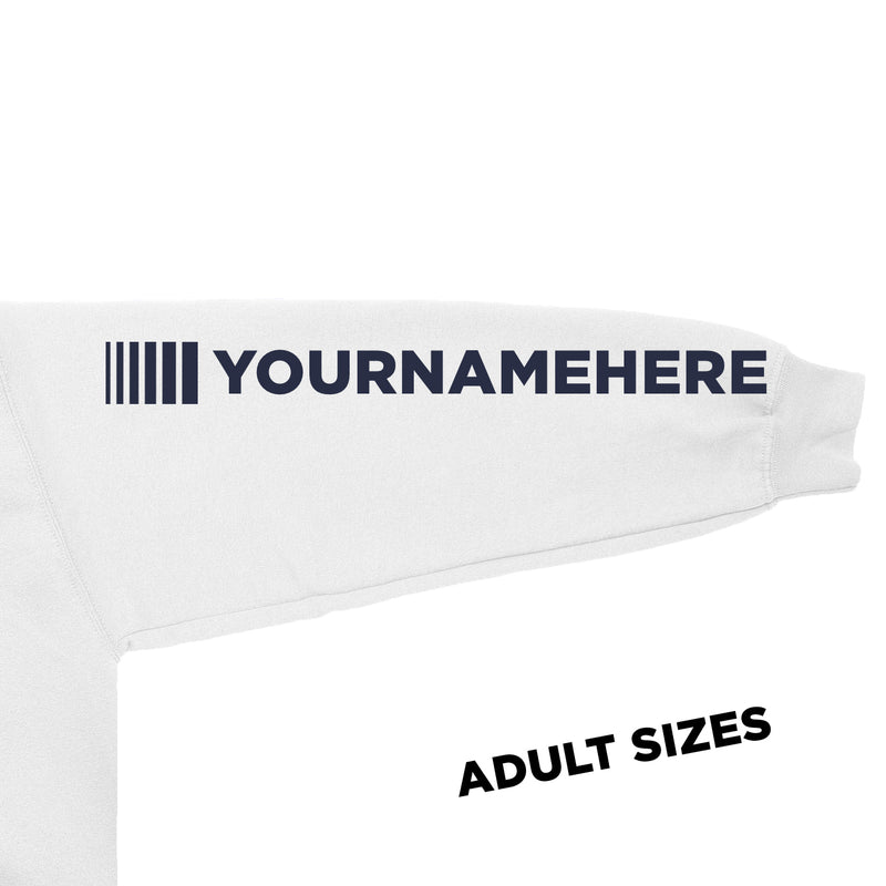 Adult DVG Personalisation Hoodie Artic White (Navy Writing)