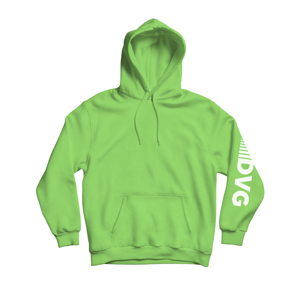 Adult DVG Fam Retro Hoodie in Neon Green