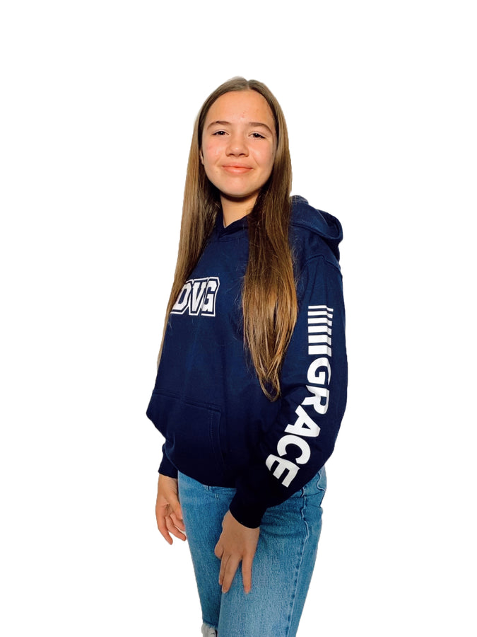 Adult DVG Personalisation Hoodie Oxford Navy Adults  (White Writing)