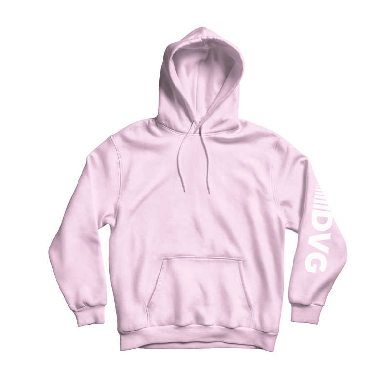 Adult DVG Fam Retro Hoodie Baby Pink/White