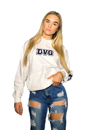 Junior DVG Personalisation Hoodie Artic White (Navy Writing)