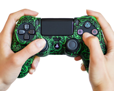 green motif ps4 controller silicone skin cover case grip