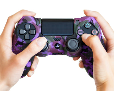 purple camo ps4 silicone controller skin cover case grip