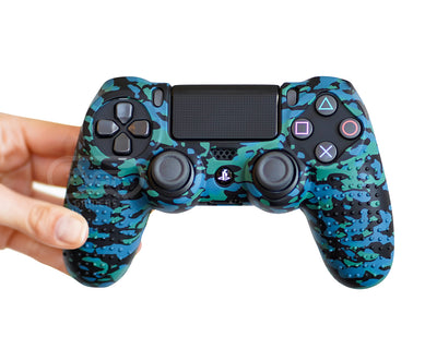 blue camo controller skin ps4 silicone case cover grip
