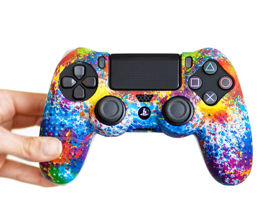 paint splatter tie dye ps4 silicone controller skin