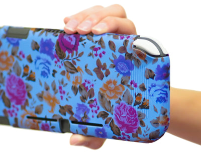 nintendo switch lite silicone case flowers floral blue