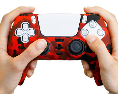 red camo silicone-case-camo-for-ps5-dualsense-controllers