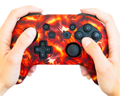 fire flames nintendo switch pro controller silicone case cover grip wrap