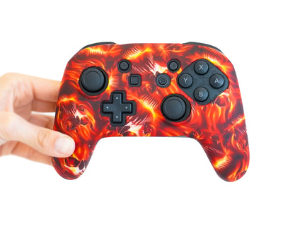 fire flames nintendo switch pro controller silicone case