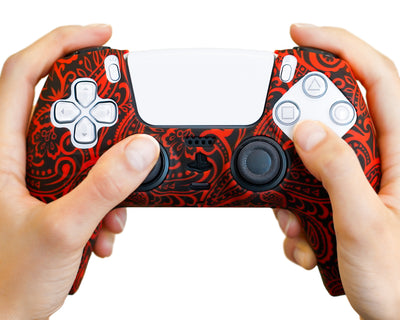 floral-flowers-red-ps5-controller-case-cover-wrap
