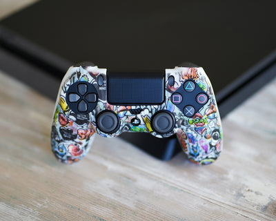 graffiti ps4 controller silicone skin cover case wrap grips