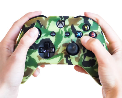 nightvision green camo xbox one s x silicone controller skin cover case