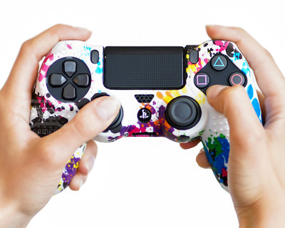 paint splatter ps4 silicone controller case cover skin