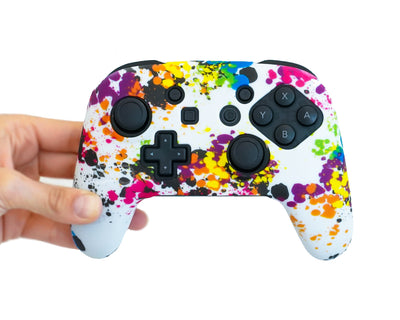 paint splatter nintendo switch pro controller skin case cover wrap