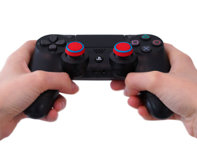 ps4 dualshock4 thumbsticks red blue grips accuracy