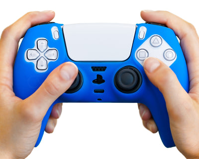ps5 silicone controller case blue grips