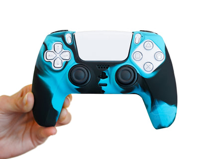 blue camo ps5 controller silicone case cover grip wrap skin