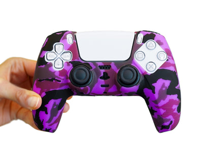 purple camouflage camo ps5 controller skin cover