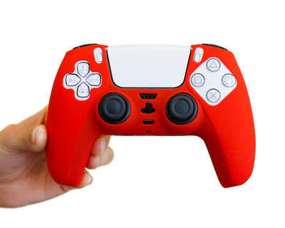 red ps5 silicone controller case cover