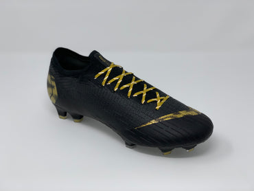 Nike Mercurial Vapor 12 Black Lux Pack on SR4U Metallic Gold Reflective Laces