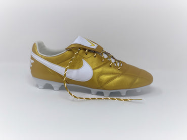 SR4U Metallic Gold Reflective Laces on Nike Premier 2 R10