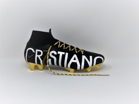 SR4U Metallic Gold Reflective Laces on Nike Mercurial Superfly 6 CR7 Special Edition Soccer-Football Boots