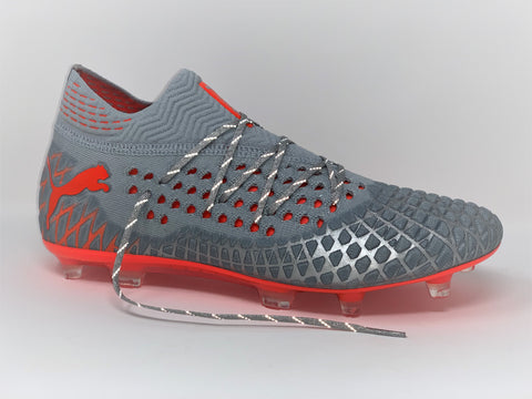 Metallic Silver Reflective SR4U Laces on Puma Future 4.1 Netfit Anthem Pack Soccer-Football Boots