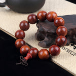bracelet tibetain homme bois de santal orange