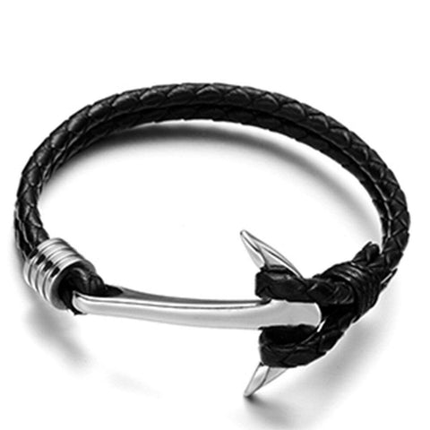 Bracelet ancre cuir tresse simple