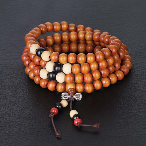 bracelet mala tibétain bois de santal orange