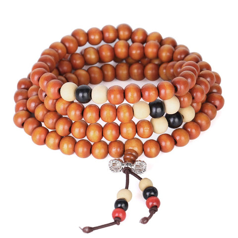 bracelet mala tibétain en bois de santal orange vajra