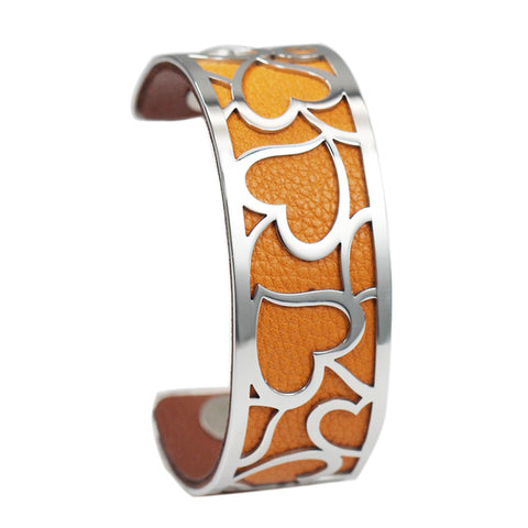 Bracelet Manchette Coeur Orange et Marron