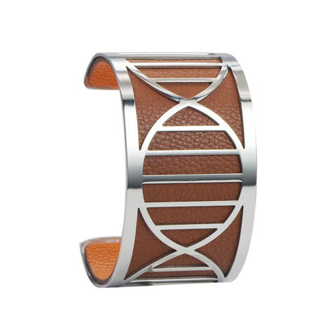 "Bracelet Manchette ""ADN"" Marron et Orange (40mm)"
