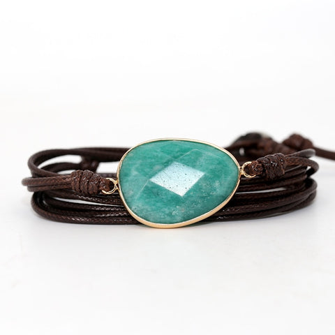 Bracelet Cordon marron Amazonite