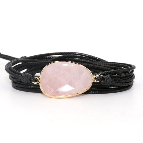 Bracelet Cordon pierre Quartz Rose